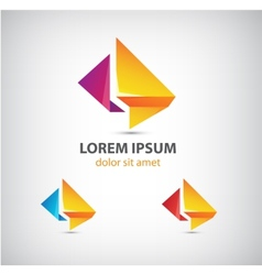 abstract origami icon logo for comapany vector image
