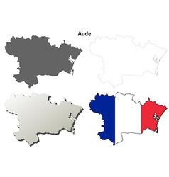 Aude languedoc-roussillon outline map set vector