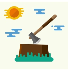Axe and stump vector image