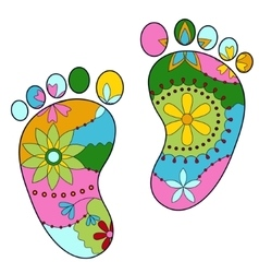 baby feet painted silhouettes vector image vector image