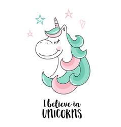 believe in unicorns unicorn quote vector image vector image