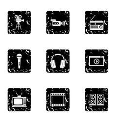 Broadcasting icons set grunge style vector
