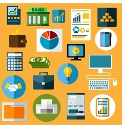 Business finance and bank flat icons vector