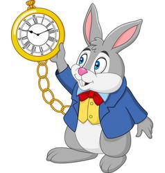 cartoon rabbit holding watch vector image