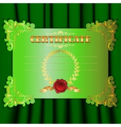 certificate with a textile background vector image vector image
