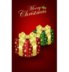 christmas gift box on red background vector image vector image