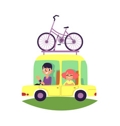 Couple family travelling by car with bike on top vector