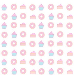 cupcake and donut seamless pattern pastel color vector image vector image