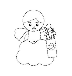 cute cupid angel love holding bag arrow cloud vector image