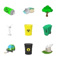 Energy icons set cartoon style vector image