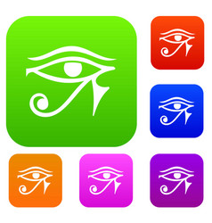Eye of horus egypt deity set color collection vector