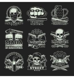Gangster Dark Emblem Set vector image vector image