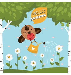 Greeting card with a cute bird watering the flower vector