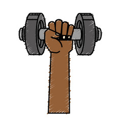 Hand with weight lifting device gym vector