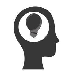 Human head with bulb light energy vector