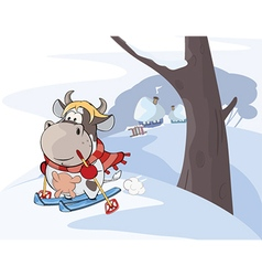 Little cow walking ski cartoon vector