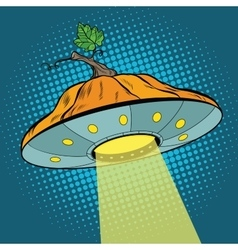 Pumpkin halloween ufo vector