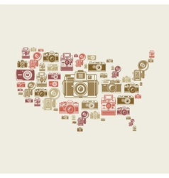 Retro photo cameras in US shape vector image