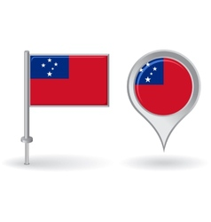 Samoa pin icon and map pointer flag vector