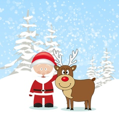 Santa Claus with Reindeer vector image vector image