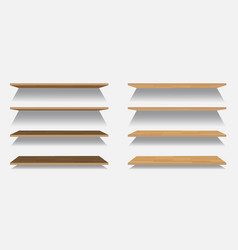 set of empty wooden or plastic shelves vector image vector image