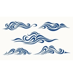 Set of stylized waves on a light background vector image vector image