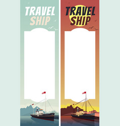 Set of templates with text space and ship vector