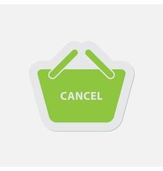Simple green icon - shopping basket cancel vector