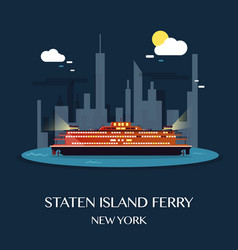 staten island ferry vector image vector image