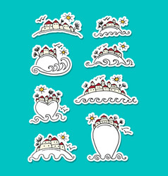 tropical island with houses sticker set for your vector image