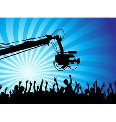 tv camera with crowds vector image vector image
