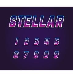 Universe pulsar 80s retro sci-fi font numbers set vector