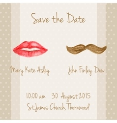 Wedding card with woman lips and men moustaches vector image