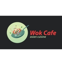 Wok cafe logo template Asian wok cuisine vector image vector image