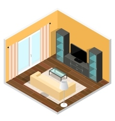 Interior of a living room isometric view vector