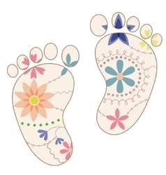Baby feet painted silhouettes vintage vector