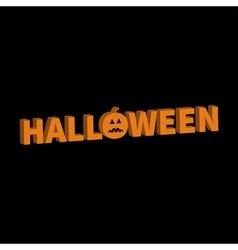 Halloween lettering 3d text banner with sad orange vector