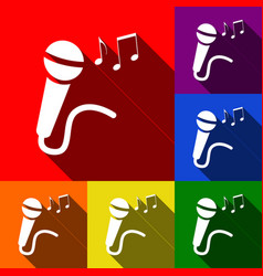 Microphone sign with music notes  set of vector