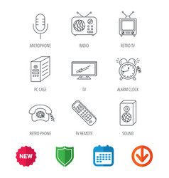 tv remote retro phone and radio icons vector image