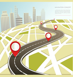 Navigation map with location pinc car road vector