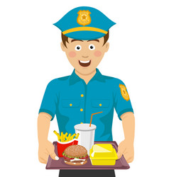 young cute policeman holding a tray with fast food vector image
