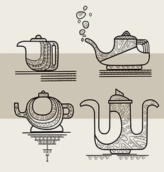 Set of four stylized silhouettes of teapots vector