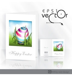 Easter background with eggs in grass vector