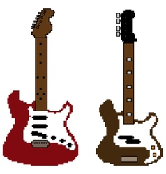 Pixel guitar set2 vector