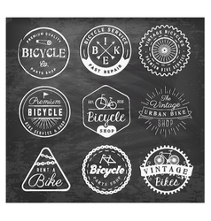 Bicycle Badge and Labels on Chalkboard vector image