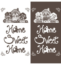 Hand drawing house with text home sweet home vector