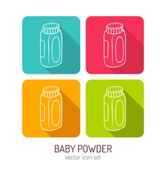 Line art bottle of baby powder icon set in four vector