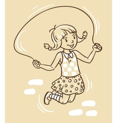 Girl jumps with rope vector