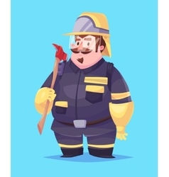 Funny of fireman cartoon character vector