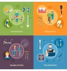 Traumatology orthopedics 2x2 flat images vector